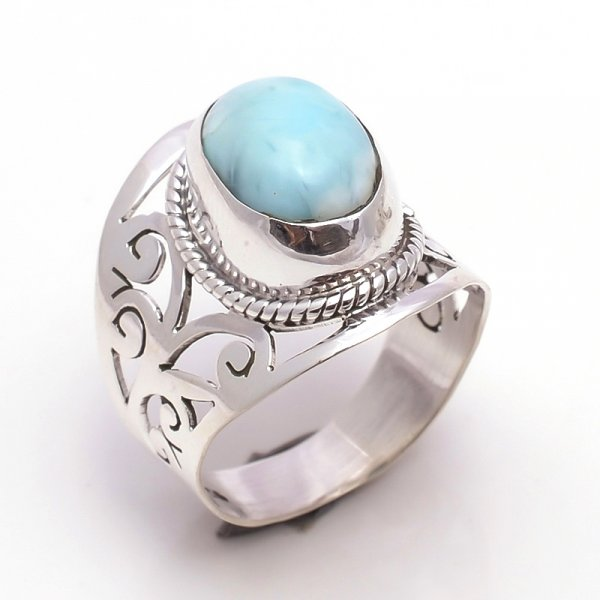 Larimar Gemstone 925 Sterling Silver Ring Size 8