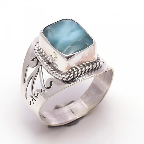 Larimar Gemstone 925 Sterling Silver Ring Size 7.5