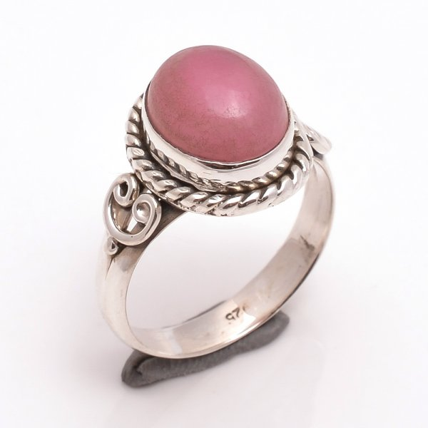 Pink Jade Gemstone 925 Sterling Silver Ring Size 8