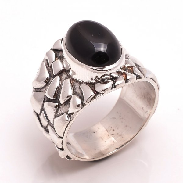 Black Onyx Gemstone 925 Sterling Silver Ring