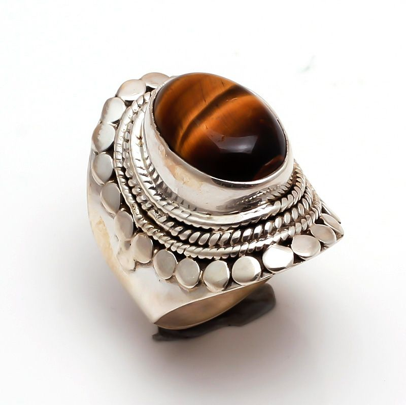 Tiger Eye Gemstone 925 Sterling Silver Ring Size 6