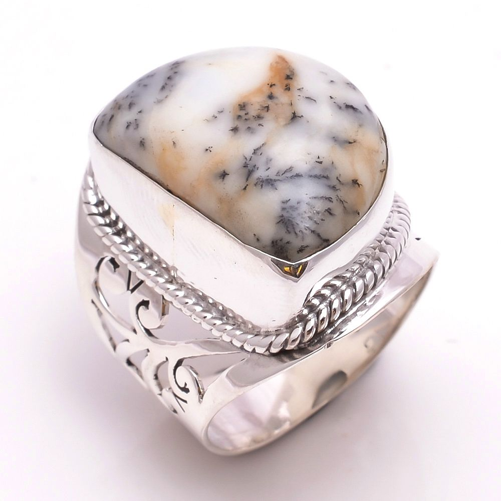 Dendrite Opal Gemstone 925 Sterling Silver Ring Size 8