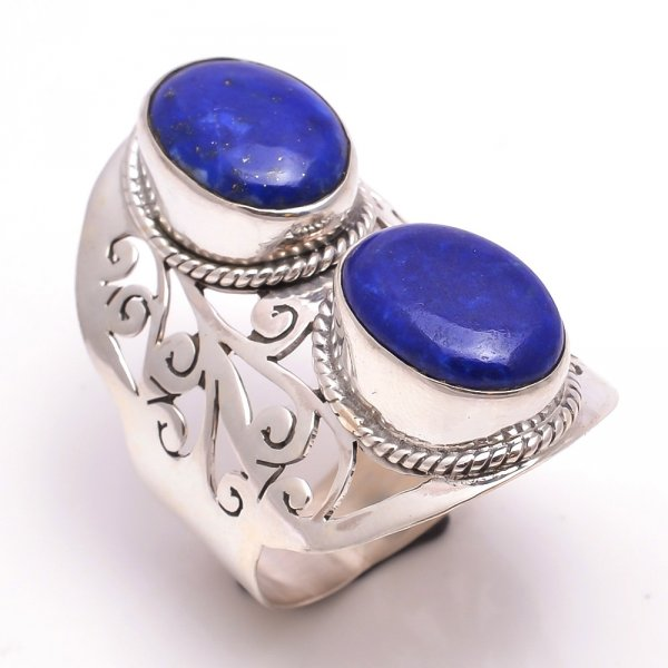 Lapis Gemstone 925 Sterling Silver Ring Size 10.5