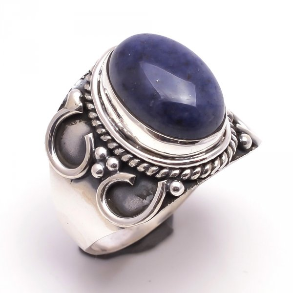 Lapis Gemstone 925 Sterling Silver Ring Size 8.5