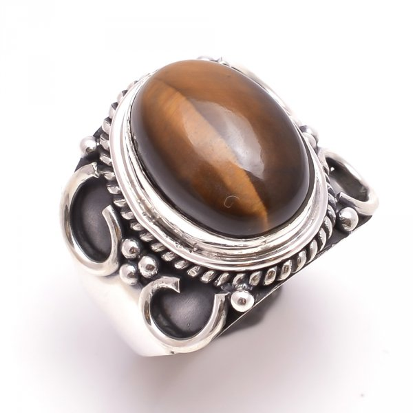 Tiger Eye Gemstone 925 Sterling Silver Ring Size 6.5