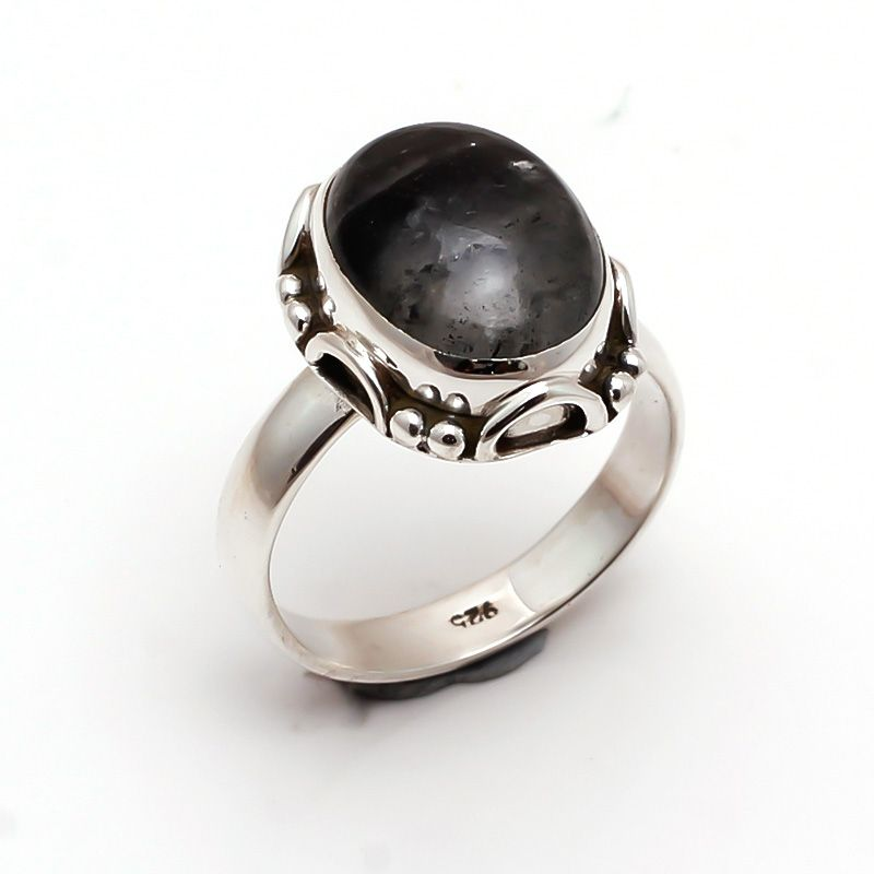 Rutile Gemstone 925 Sterling Silver Ring Size 6.5