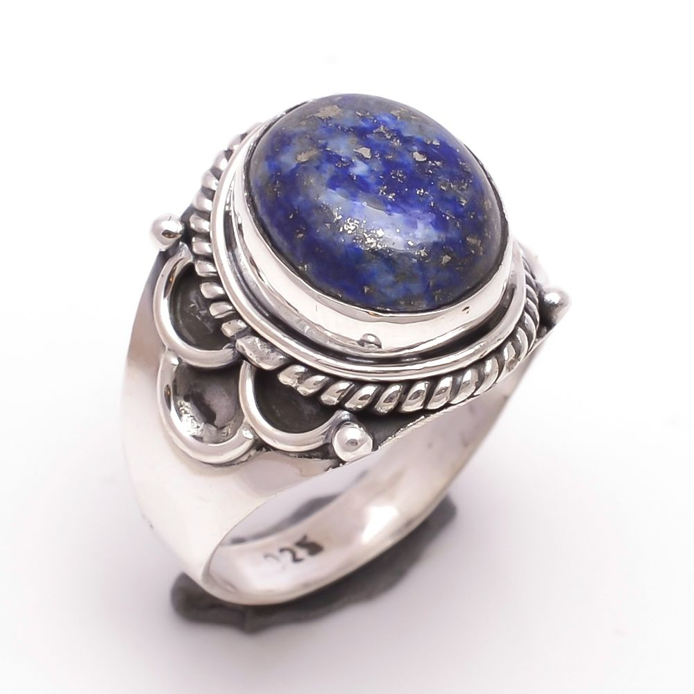 Lapis Gemstone 925 Sterling Silver Ring Size 7.5