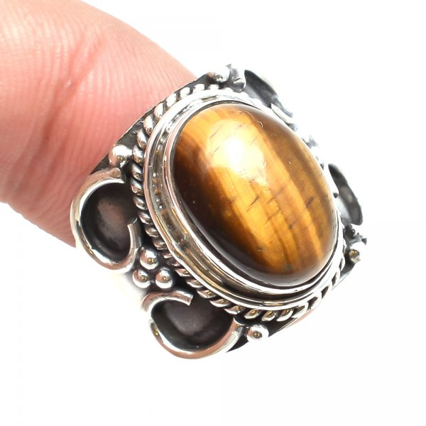 Tiger Eye Gemstone 925 Sterling Silver Ring