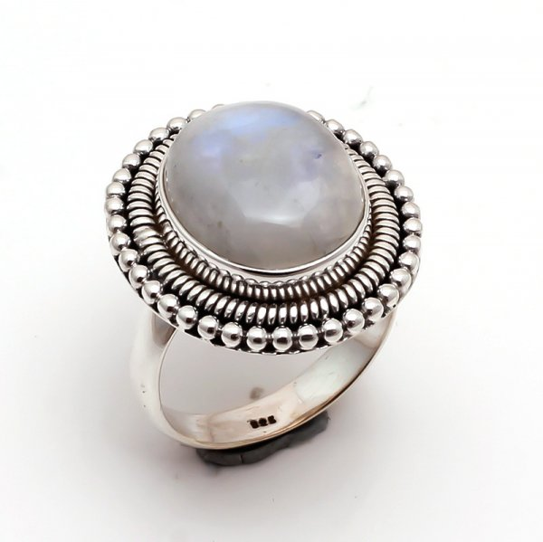 Rainbow Moonstone 925 Sterling Silver Ring Size US 7