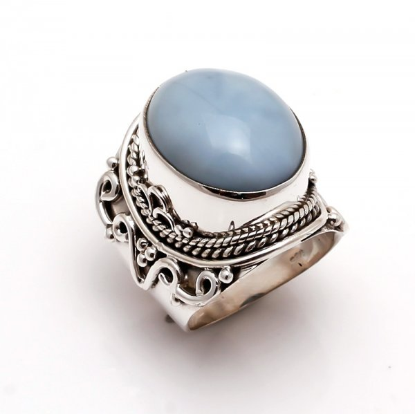 Owyhee Blue Opal Gemstone 925 Sterling Silver Ring Size 8