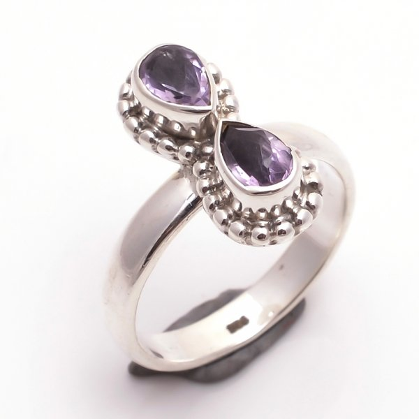 Amethyst Gemstone 925 Sterling Silver Ring Size 6