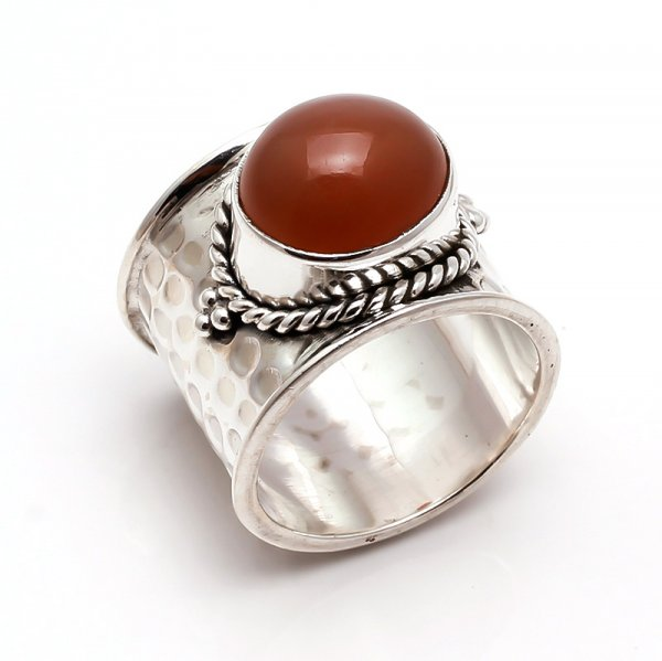 Moonstone Gemstone 925 Sterling Silver Ring Size 8