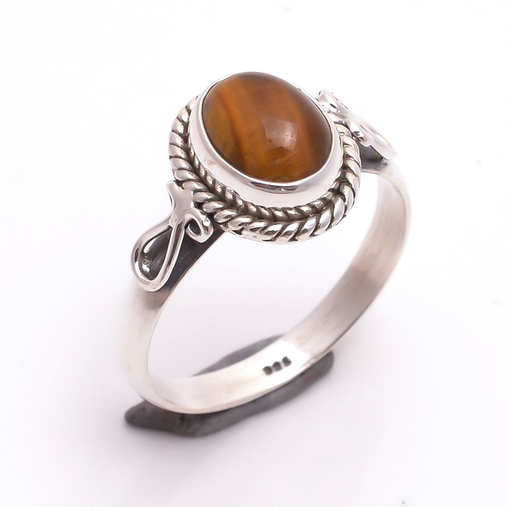 Tiger Eye Gemstone 925 Sterling Silver Ring Size US 6