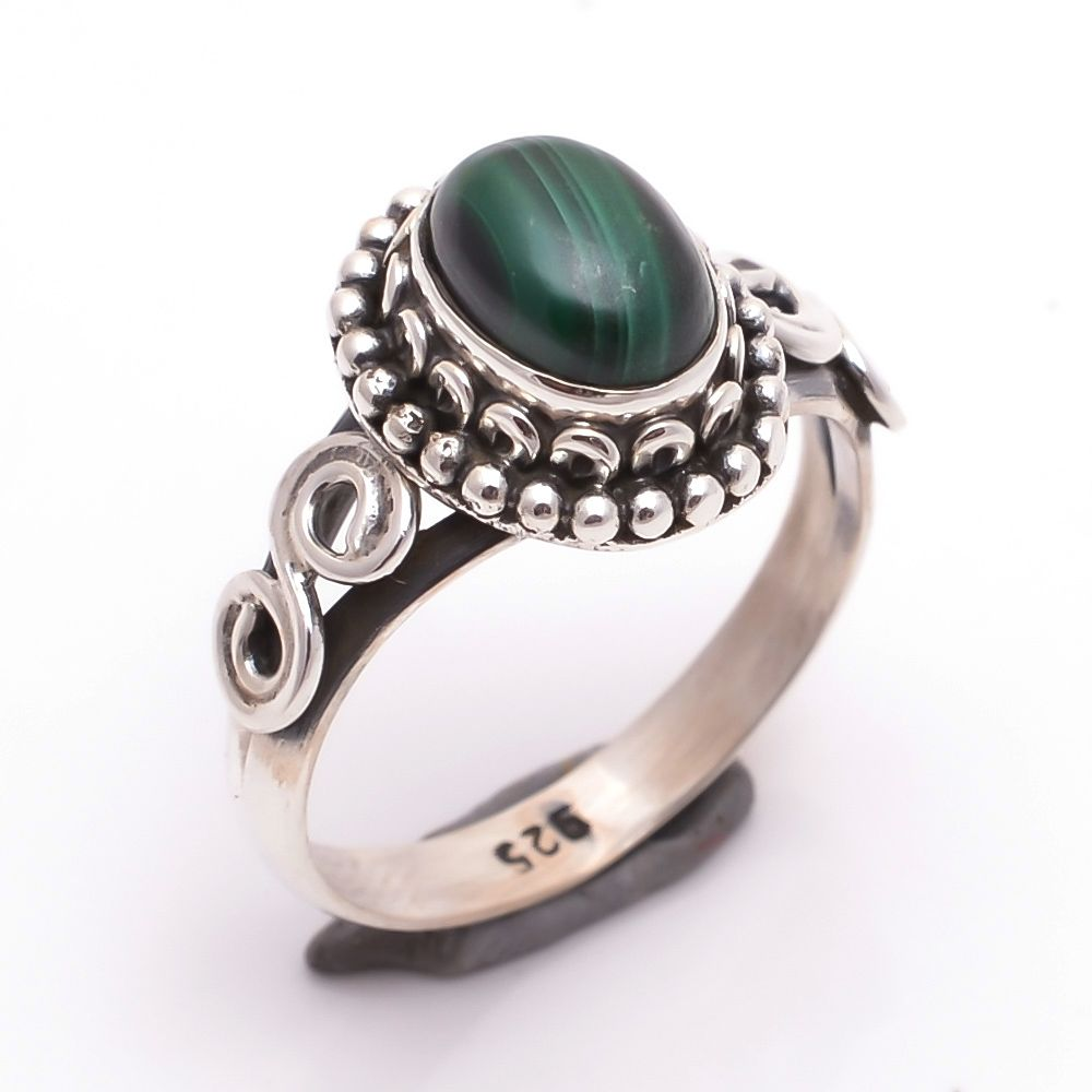 Malachite Gemstone 925 Sterling Silver Ring Size US 6