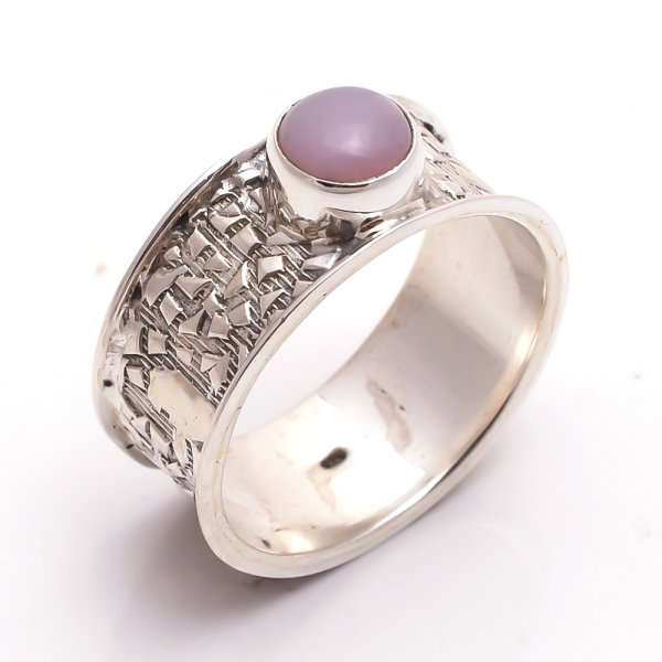 Pink Opal Gemstone 925 Sterling Silver Ring Size 8.5