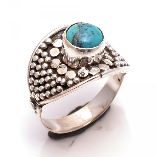 Blue Copper Turquoise Gemstone 925 Sterling Silver Ring Size 7