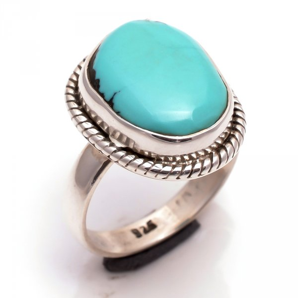 Turquoise Gemstone 925 Sterling Silver Ring Size 7.5