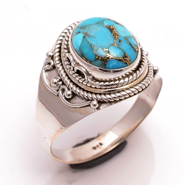 Blue Copper Turquoise Gemstone 925 Sterling Silver Ring Size 12