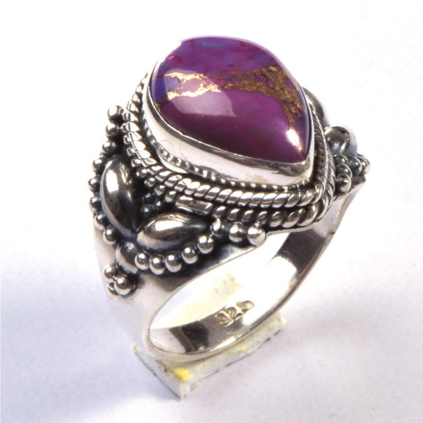 Purple Copper Turquoise Gemstone 925 Sterling Silver Ring Size 8.5
