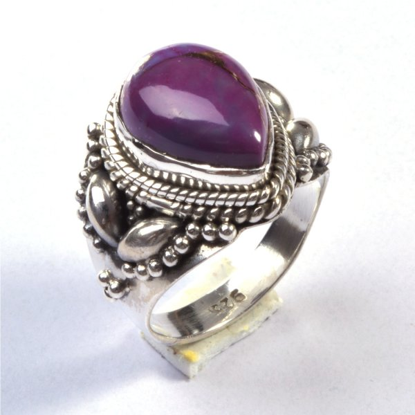 Purple Copper Turquoise Gemstone 925 Sterling Silver Ring Size 7