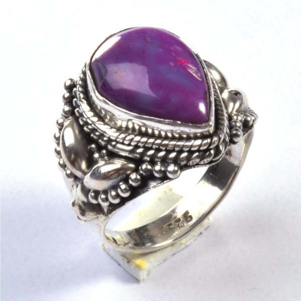 Purple Copper Turquoise Gemstone 925 Sterling Silver Ring Size 6.5