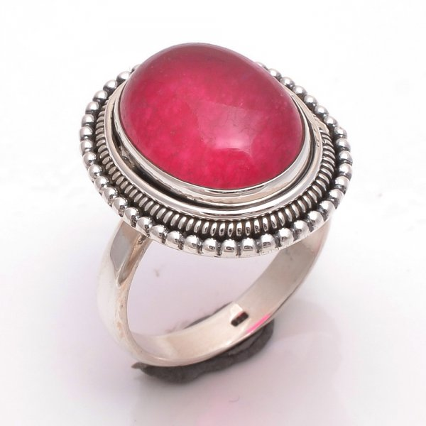 Red Jade Gemstone 925 Sterling Silver Ring Size US 6.5
