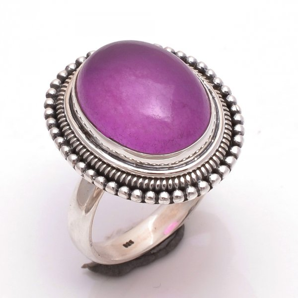 Purple Jade Gemstone 925 Sterling Silver Ring Size 10
