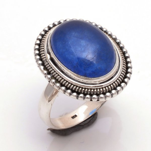 Blue Jade Gemstone 925 Sterling Silver Ring Size 7