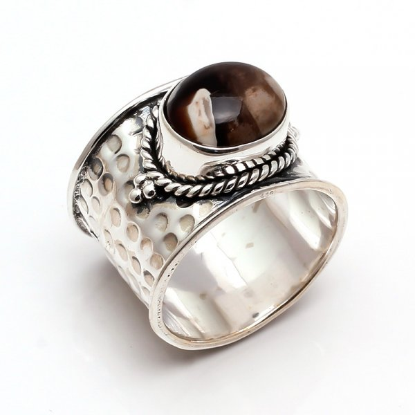 Coffee Jasper Gemstone 925 Sterling Silver Ring Size 8