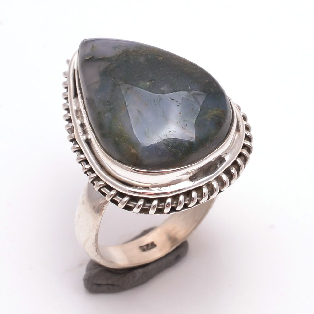Moss Agate Gemstone 925 Sterling Silver Ring Size 6.5