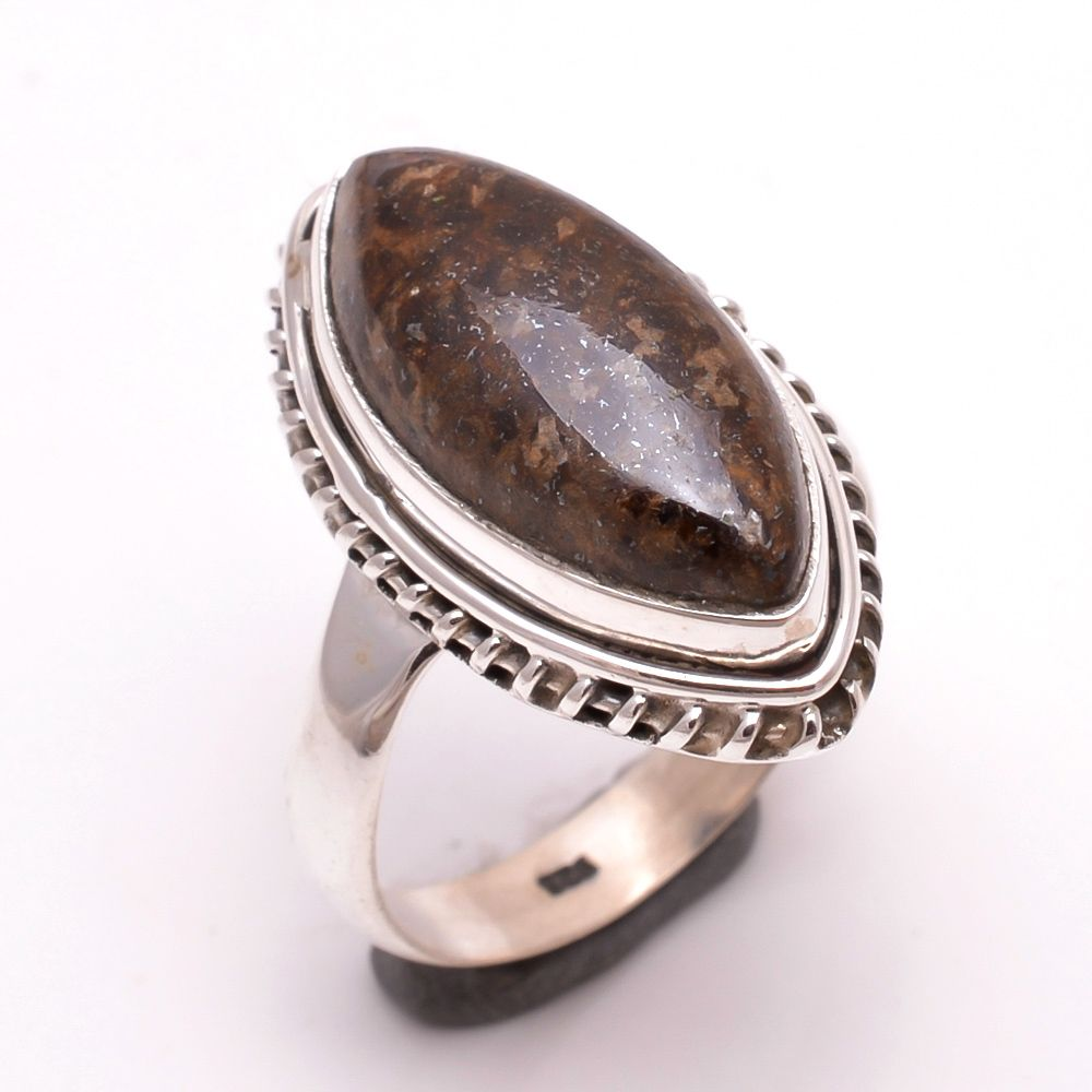Mexican Bronzite Jasper Gemstone 925 Sterling Silver Ring Size 9.5