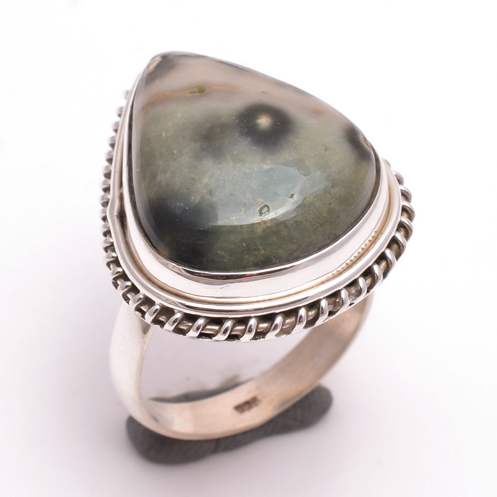 Ocean Jasper Gemstone 925 Sterling Silver Ring Size 8