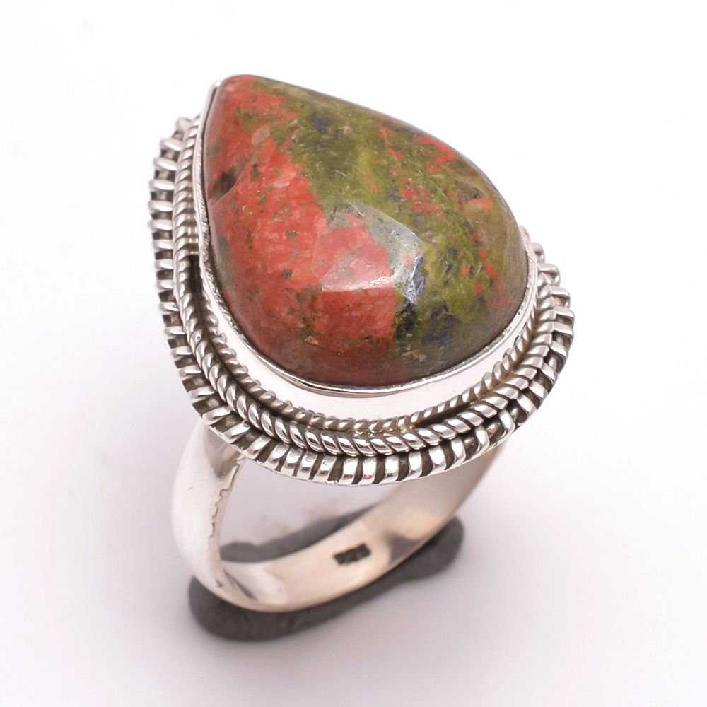 Unakite Gemstone 925 Sterling Silver Ring Size 8.5