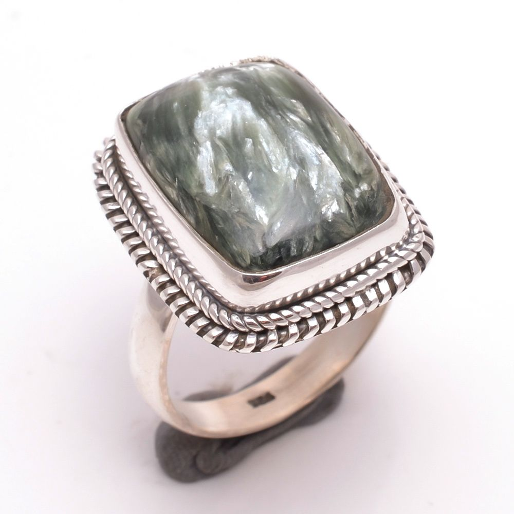 Seraphinite Gemstone 925 Sterling Silver Ring Size 8