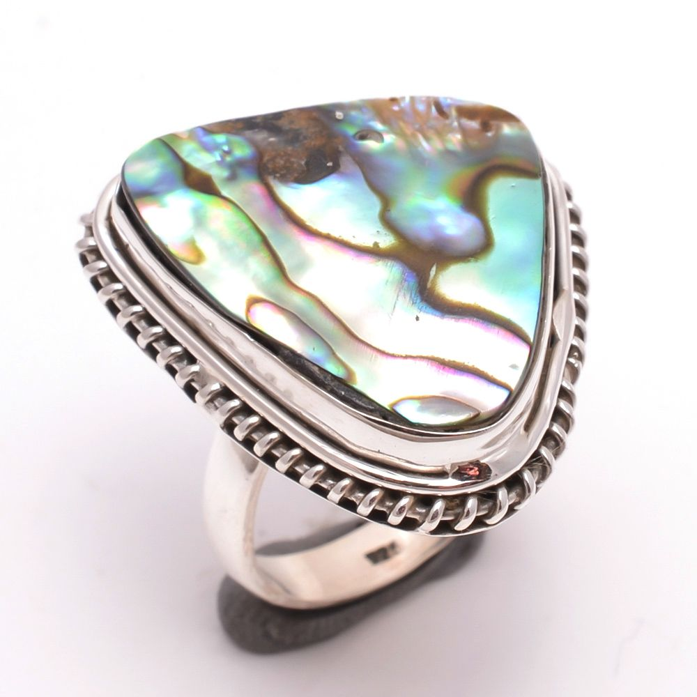 Australian Abalone Shell Gemstone 925 Sterling Silver Ring Size 7.5