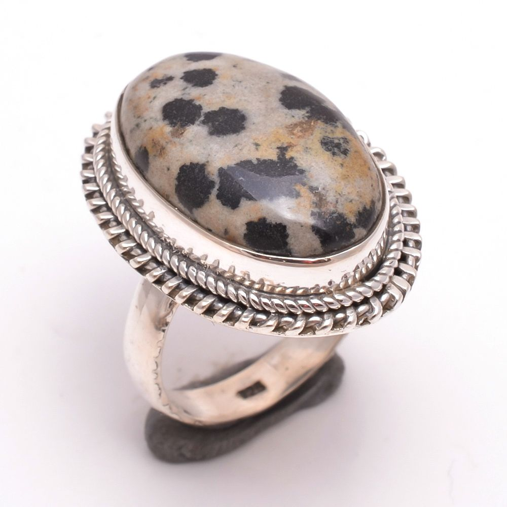 Dalmatian Gemstone 925 Sterling Silver Ring Size 6.5