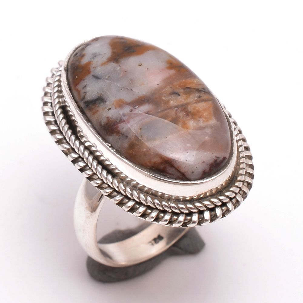 Outback Jasper Gemstone 925 Sterling Silver Ring Size 6.5