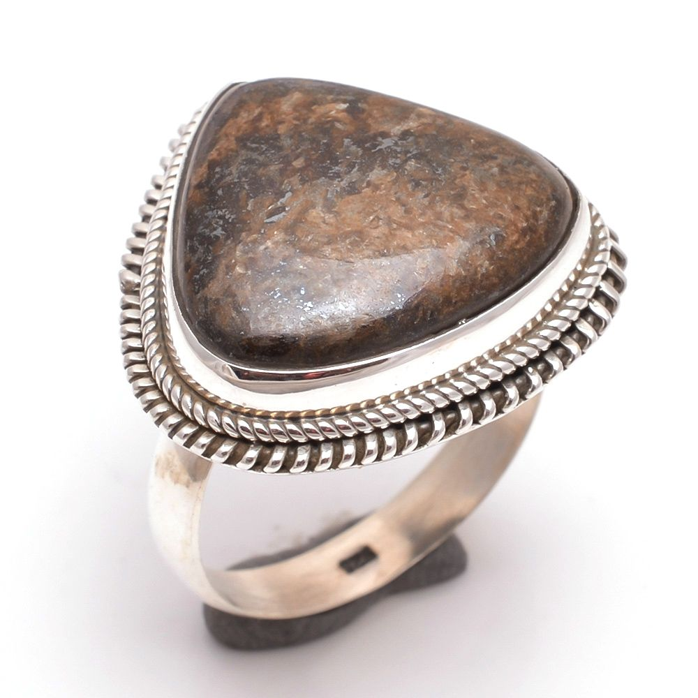 Mexican Bronzite Jasper Gemstone 925 Sterling Silver Ring Size 10