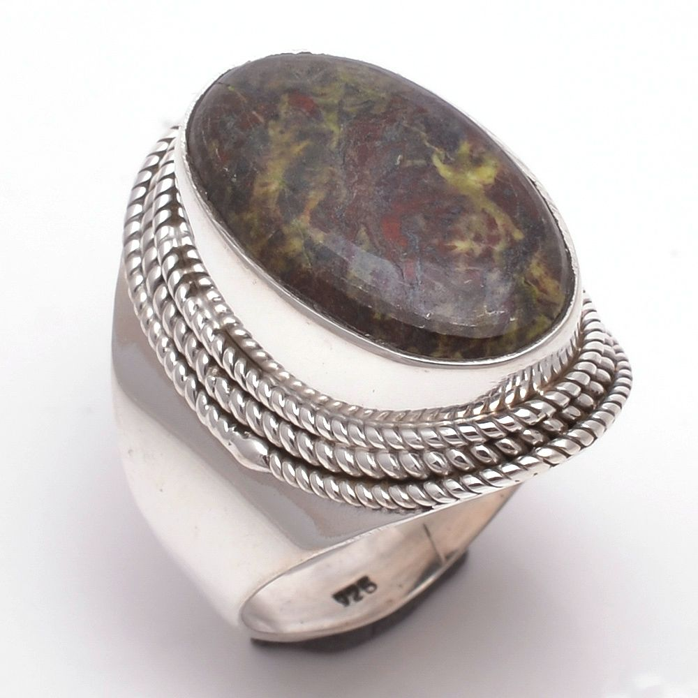 Dragon Blood Jasper Gemstone 925 Sterling Silver Ring Size 7