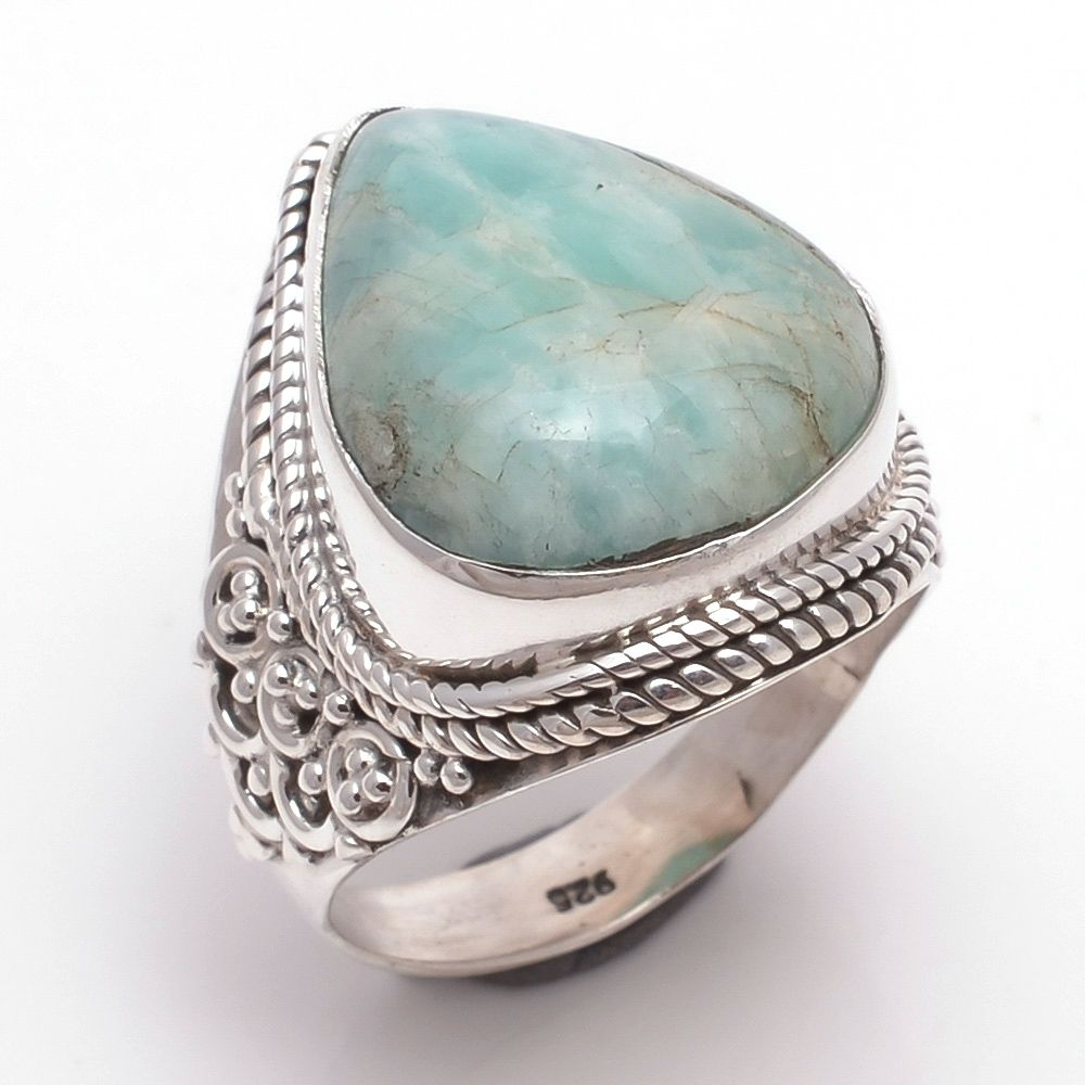 Amazonite Gemstone 925 Sterling Silver Ring Size 8.5
