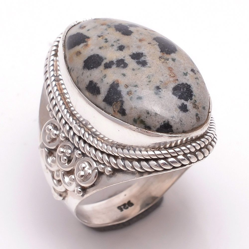 Dalmatian Gemstone 925 Sterling Silver Ring Size 6