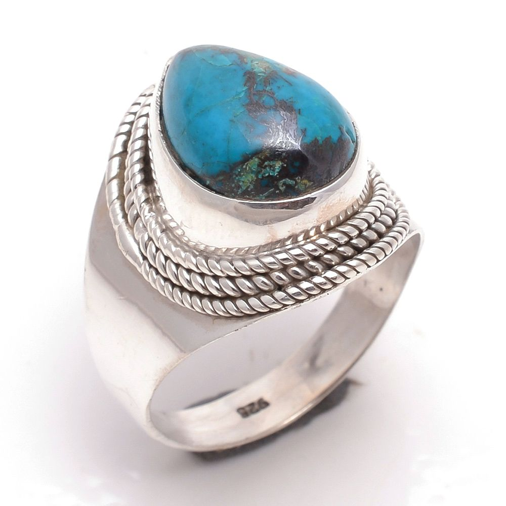 Blue Copper Turquoise Gemstone 925 Sterling Silver Ring Size 8.5
