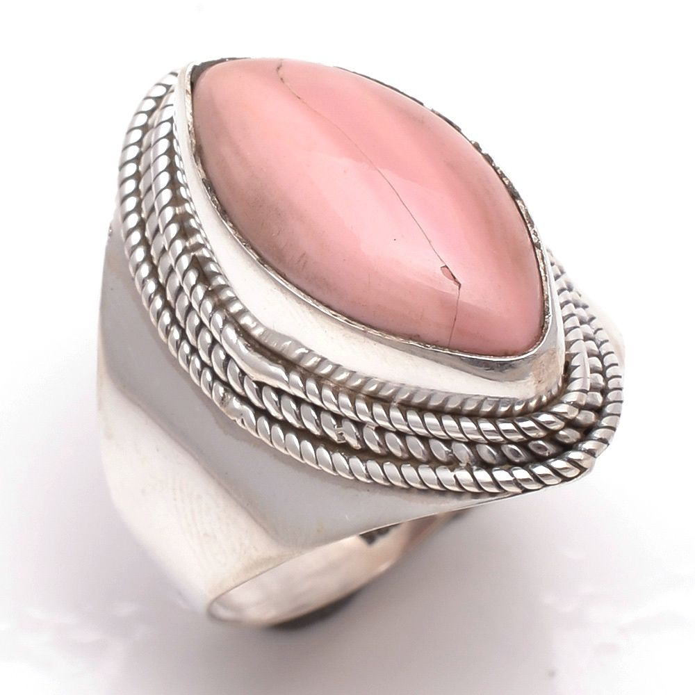 Pink Opal Gemstone 925 Sterling Silver Ring Size 9