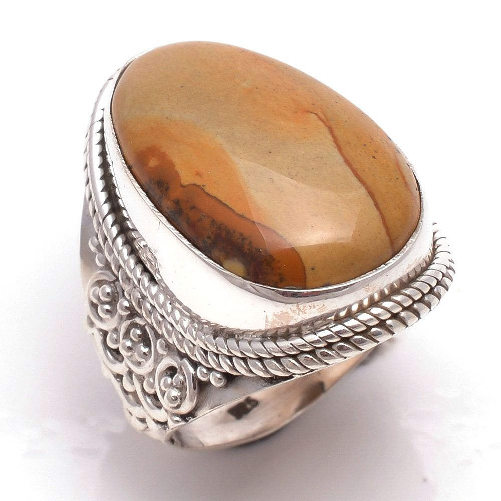 Wild Hourse Jasper Gemstone 925 Sterling Silver Ring Size 6.5