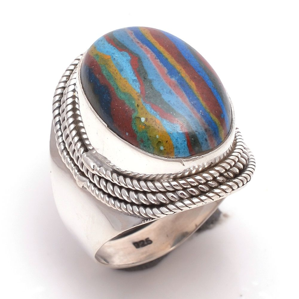 Rainbow Calsilica Gemstone 925 Sterling Silver Ring Size 6
