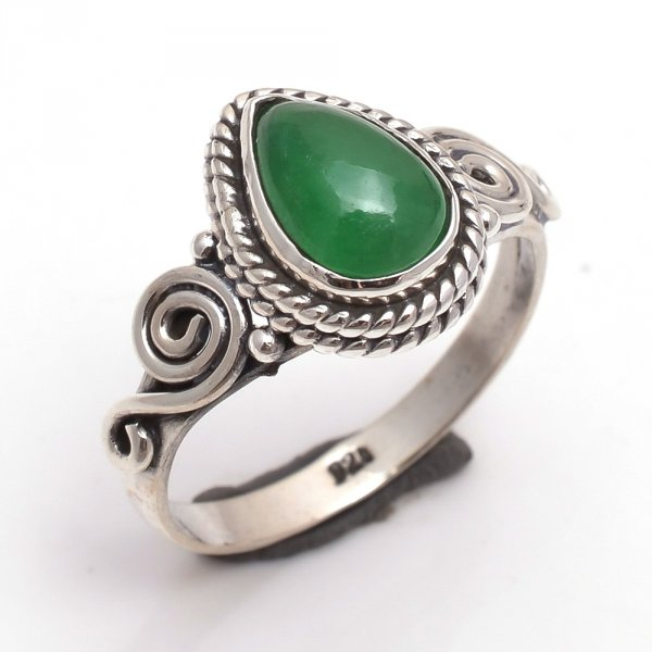 Green Jade Gemstone 925 Sterling Silver Ring