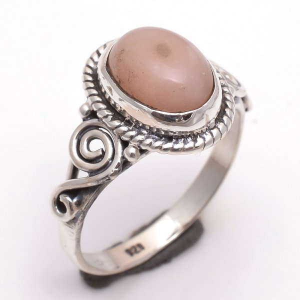 Pink Opal Gemstone 925 Sterling Silver Ring Size 7