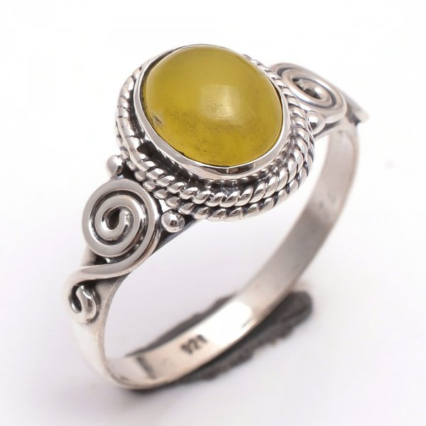 Yellow Jade Gemstone 925 Sterling Silver Ring Size 9