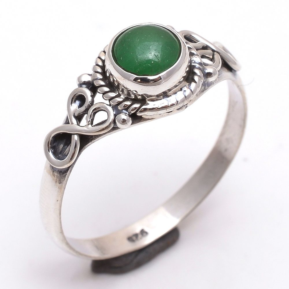 Green Onyx Gemstone 925 Sterling Silver Ring Size 8.5