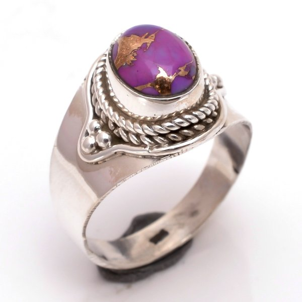 Purple Copper Turquoise Gemstone 925 Sterling Silver Ring Size 7.5